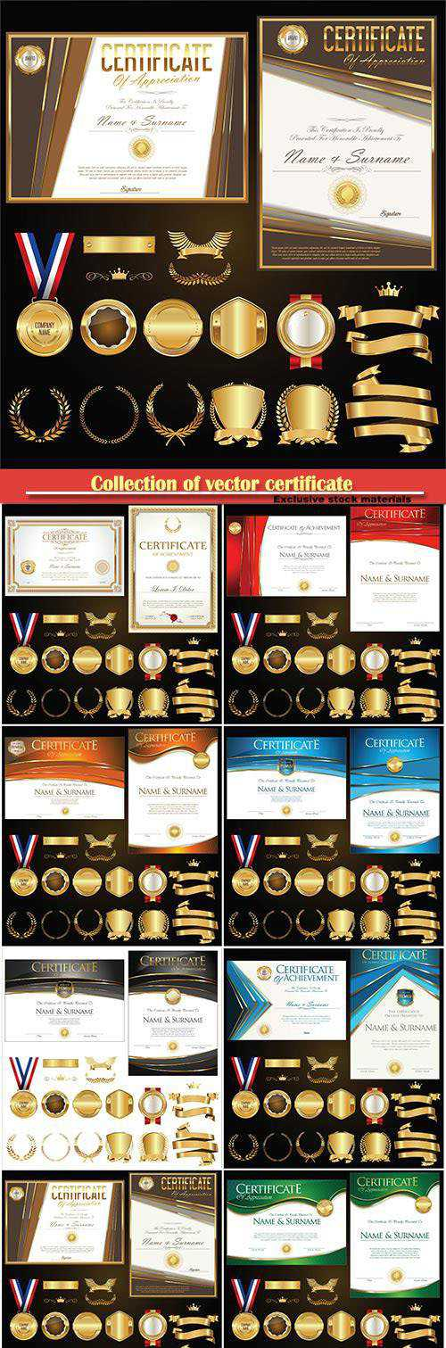 Collection of vector certificate badges labels shields and laurels