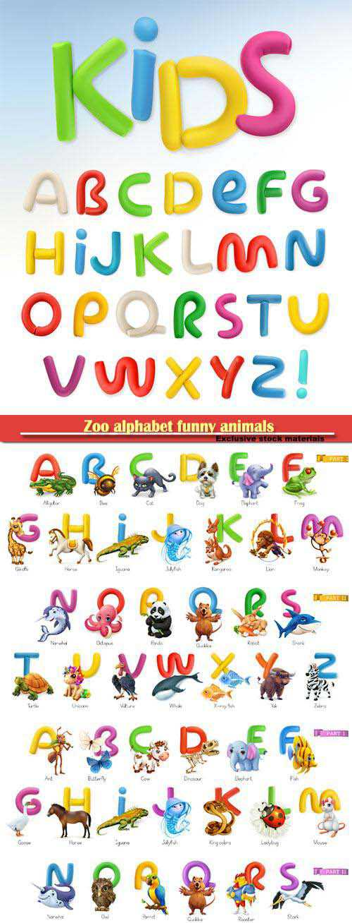 Zoo alphabet funny animals, 3d vector icons set