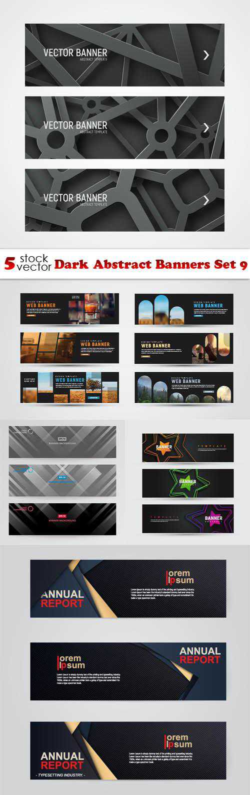 Dark Abstract Banners Set 9