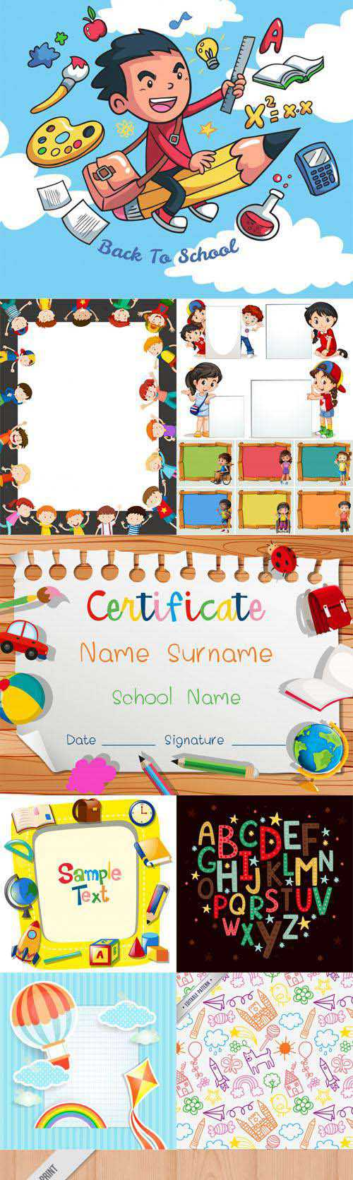 10 Kids Templates Collection in Vector