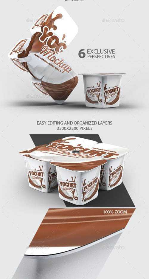 GR – Four Plastic Container For Yogurt Mock-Up 10498797
