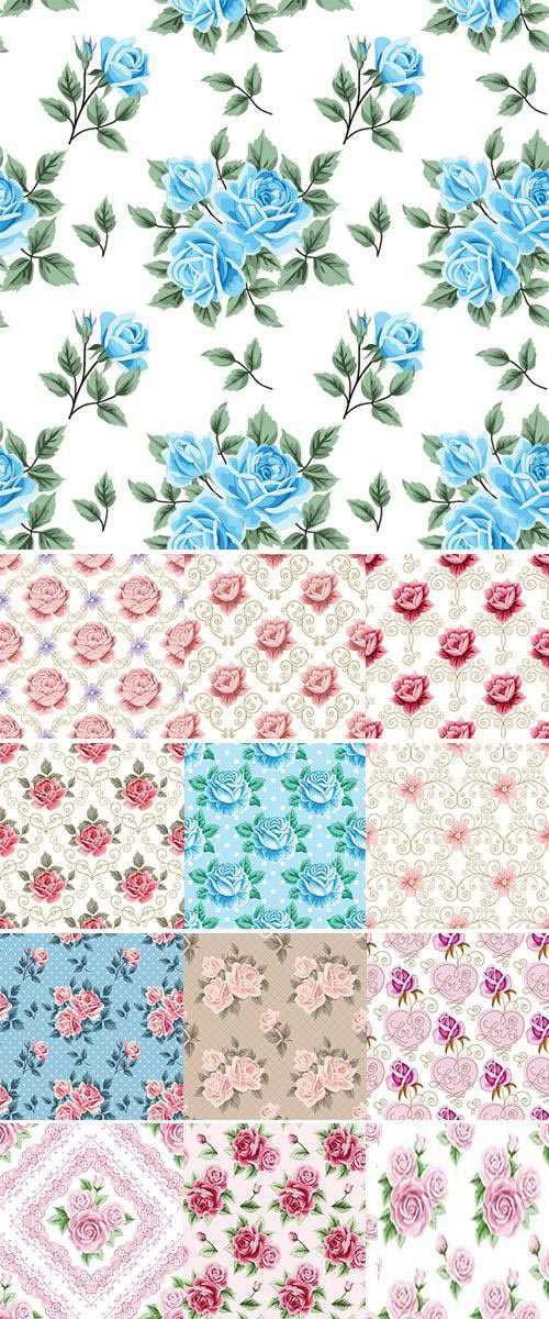 Stock Vintage seamless pattern with roses and golden lace on white background