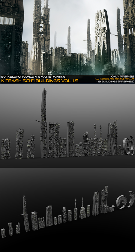 Kitbash Sci-fi Buildings Vol.1-5