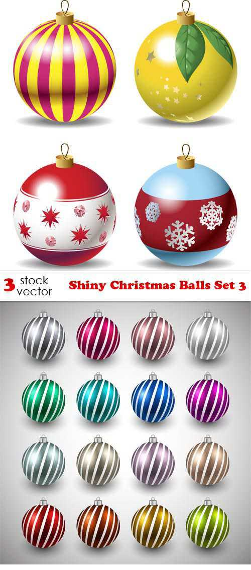 Vectors - Shiny Christmas Balls Set 3