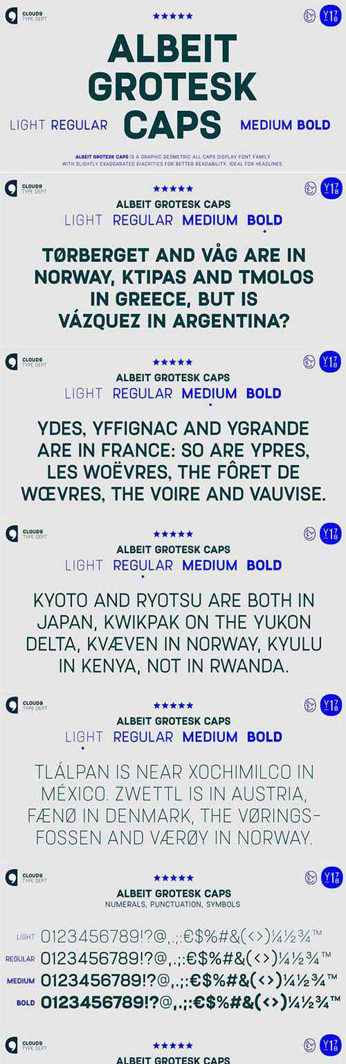 Albeit Grotesk Caps font family