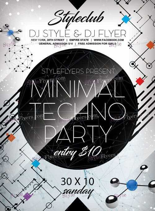Minimal Techno Party PSD Flyer Template + Facebook Cover