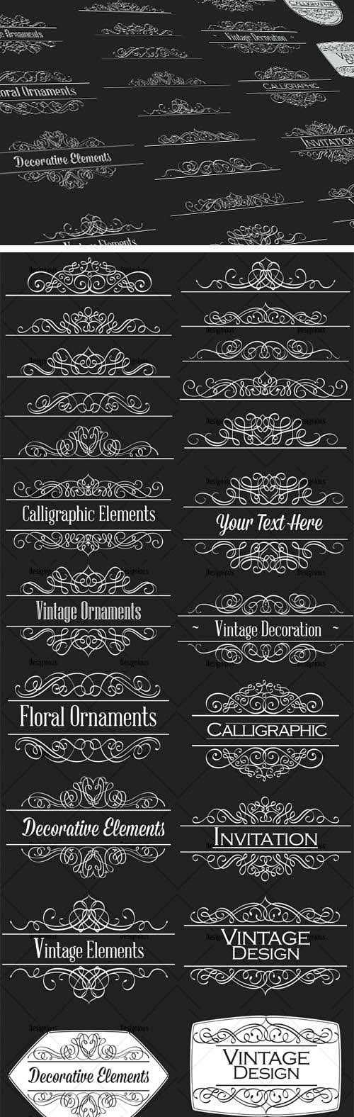 24 Top Quality Calligraphic Ornaments in Vector Worth $40