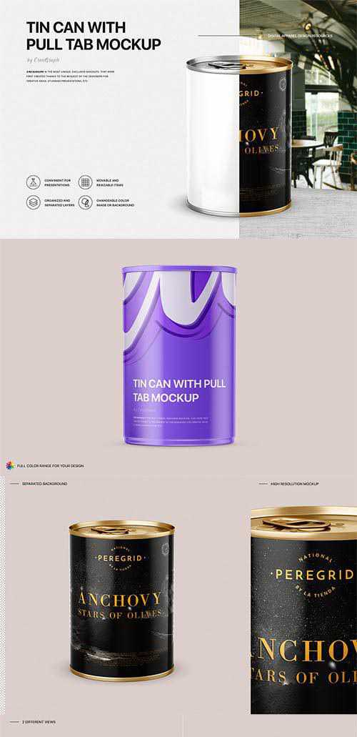 Tin Can With Pull Tab Mockup