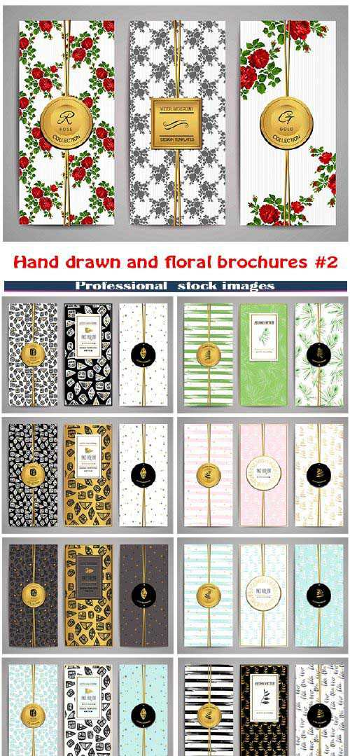 Set of brochures with hand drawn and floral design set 2
