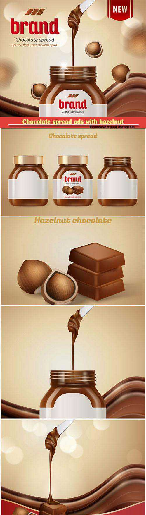 Chocolate spread ads with hazelnut and dripping paste in 3d illustration