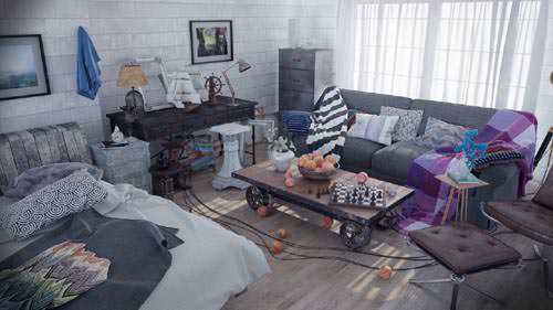 MographPlus – Realistic interior visualization in VrayForC4d , Industrial style room