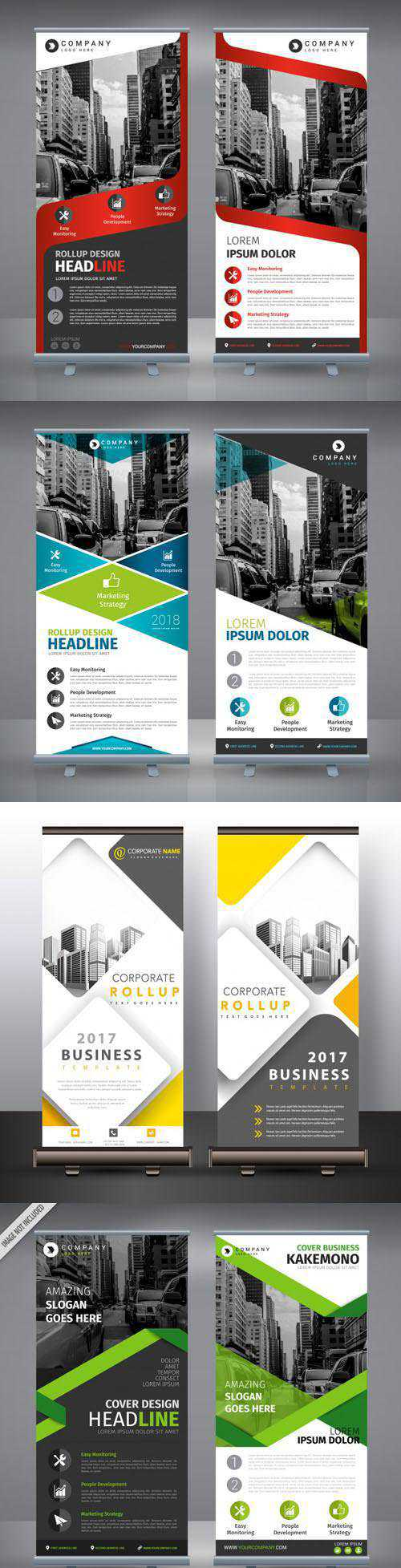 5 Double Roll-up Templates Design Vector