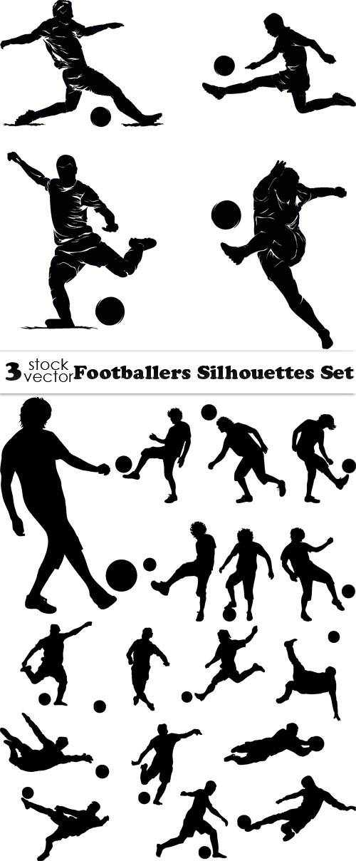 Footballers Silhouettes Set