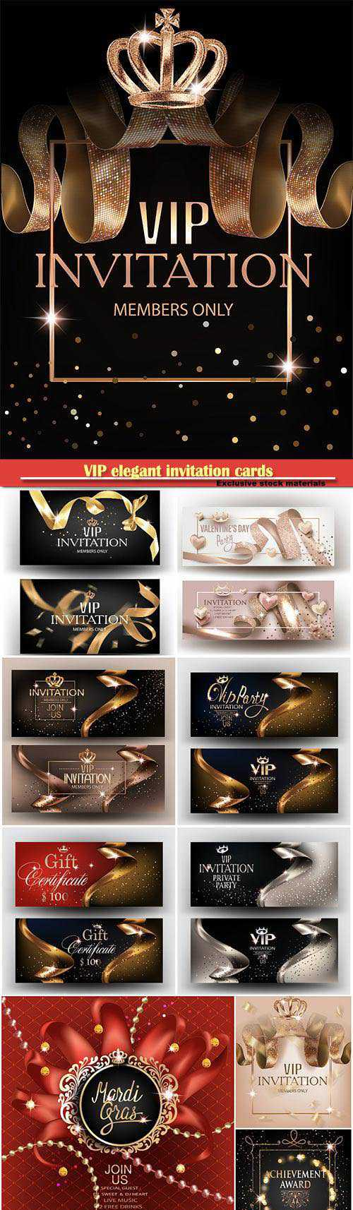 VIP elegant invitation cards with gold ribbons, pattern, crown and frame and gold dust