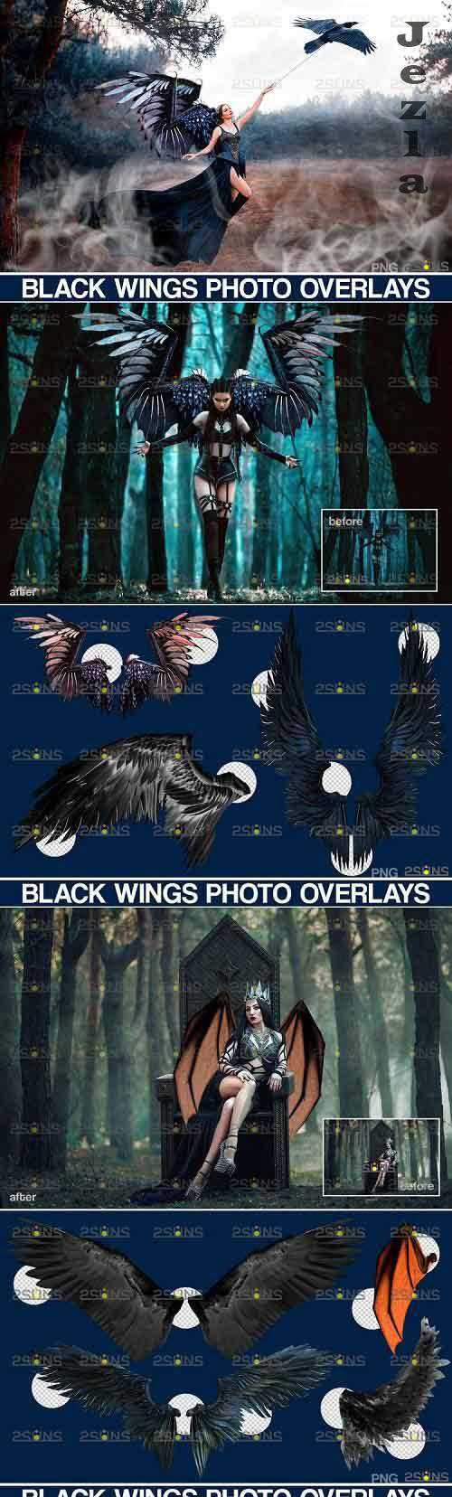 Realistic Black Angel Wings Photoshop Overlays – 593314