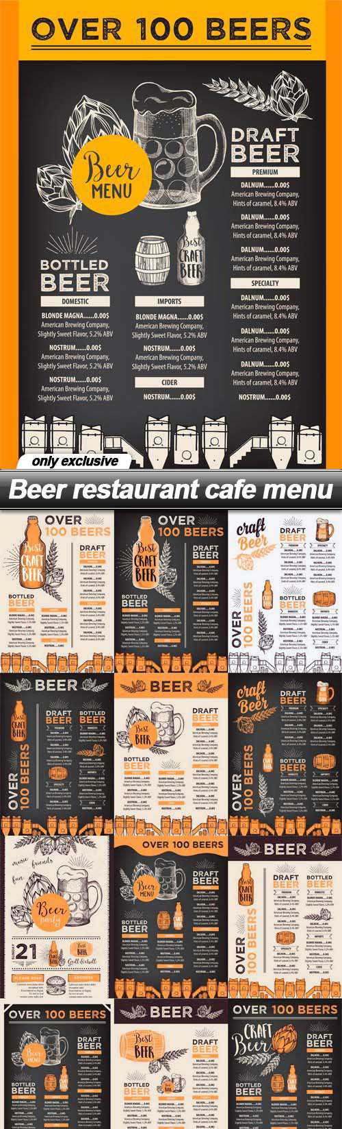 Beer restaurant cafe menu – 19 EPS