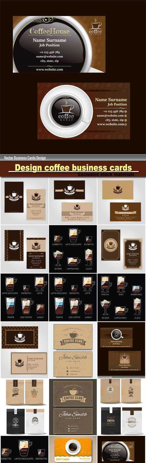Design coffee business cards, coffee badge logo