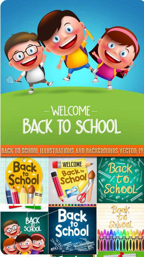 Back to school illustrations and backgrounds vector 19