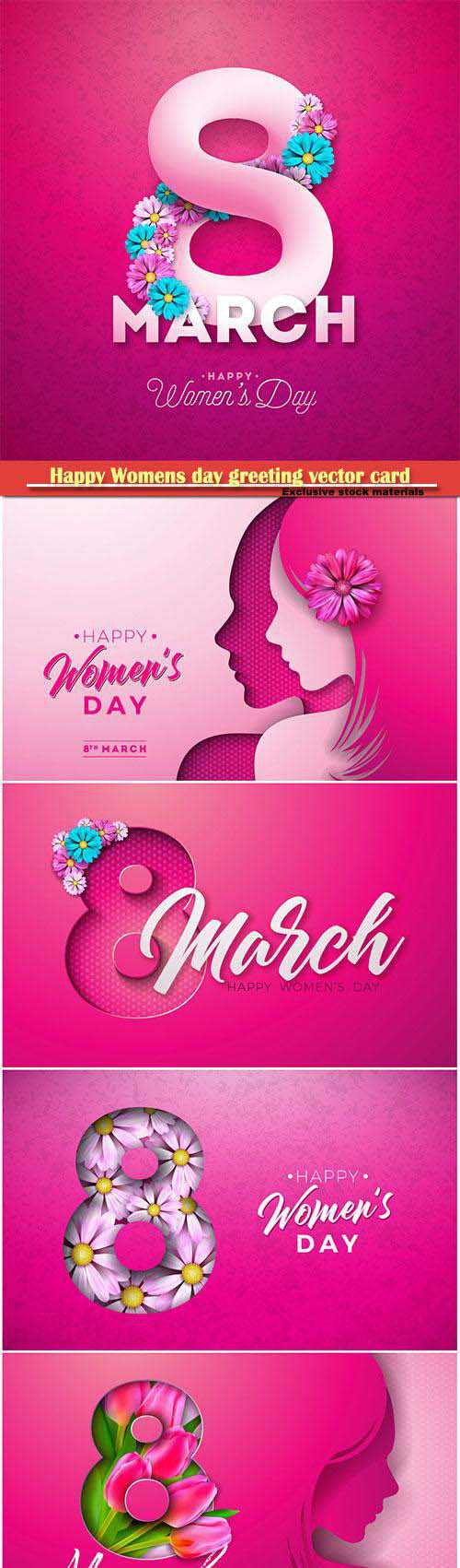Happy Womens day floral greeting vector card design # 2