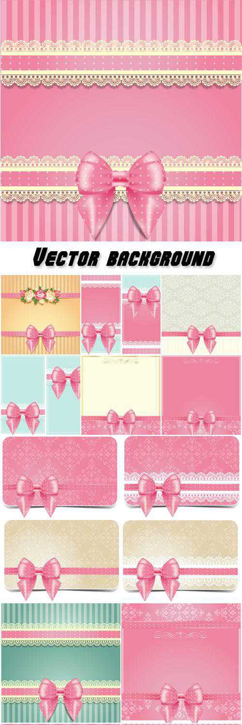Vector background with pink bows