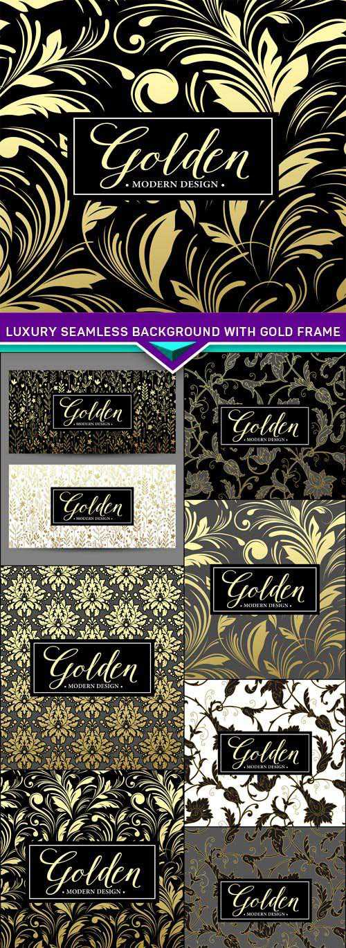 Luxury seamless background with gold frame 8X EPS