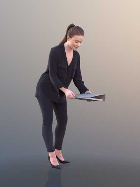 Working Business Girl Low-poly 3D model