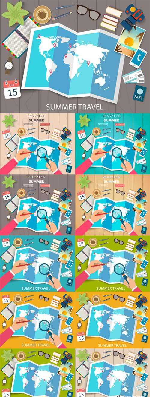 Vector Set – Flat Web Banners on the Theme of Travel , Vacation, Adventure