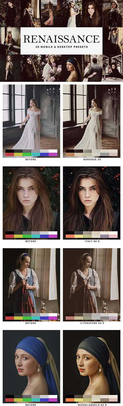 50 Renaissance Lightroom Presets and LUTs