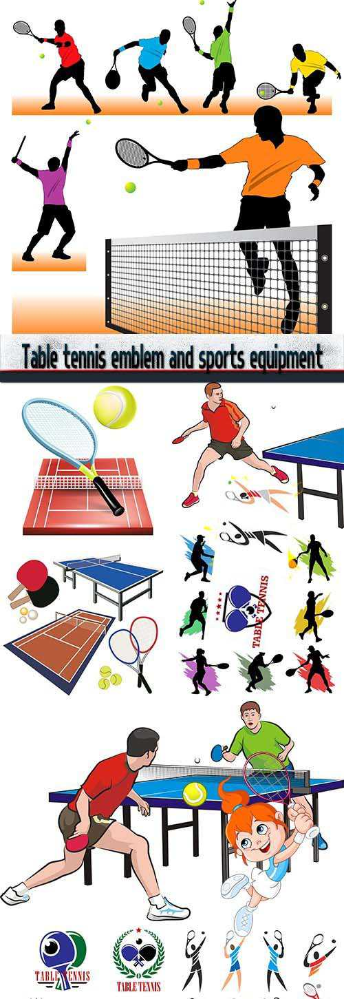 Table tennis emblem and sports equipment