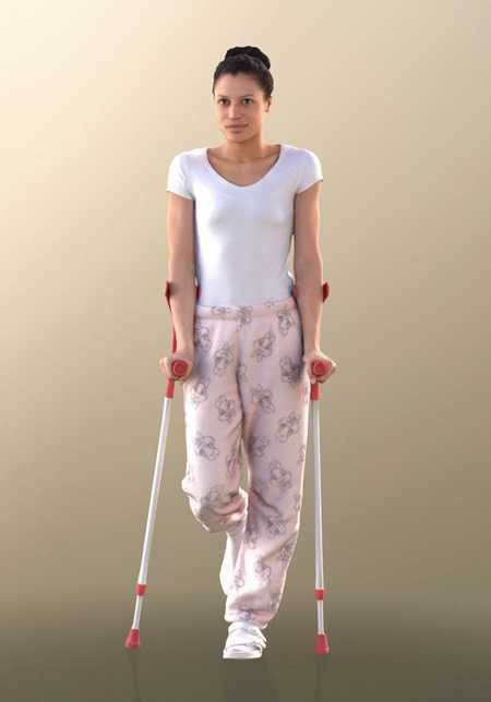 Diana 10894 Standing Patient On Crutches VR AR low-poly 3d model