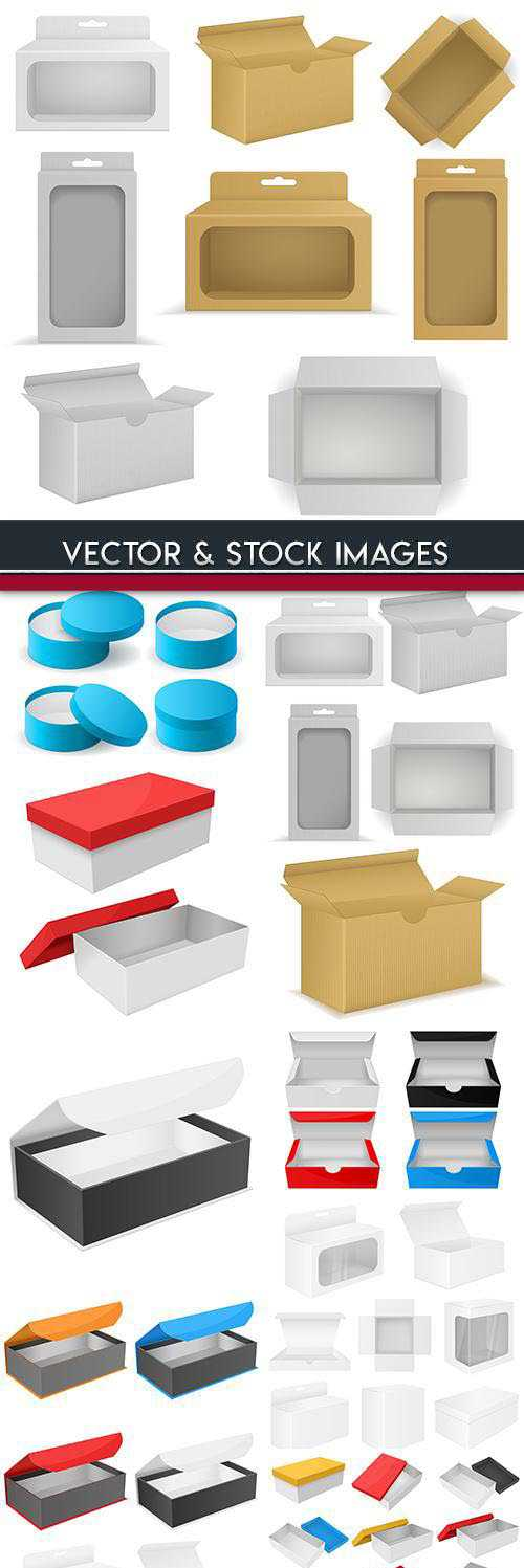 3D cardboard boxes and packing collection illustrations