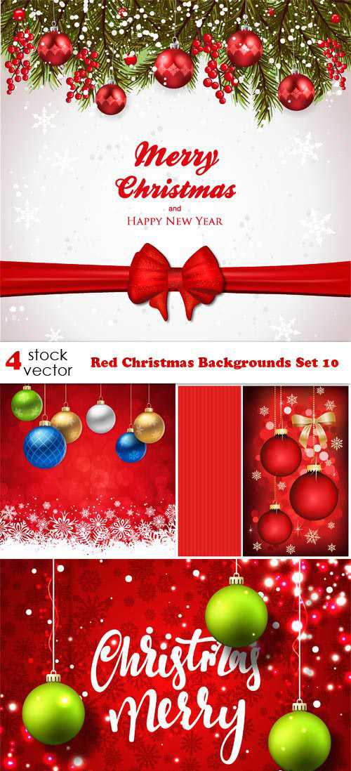 Vectors – Red Christmas Backgrounds Set 10