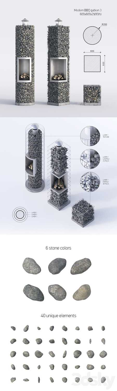 Modern barbecue from gabion 3