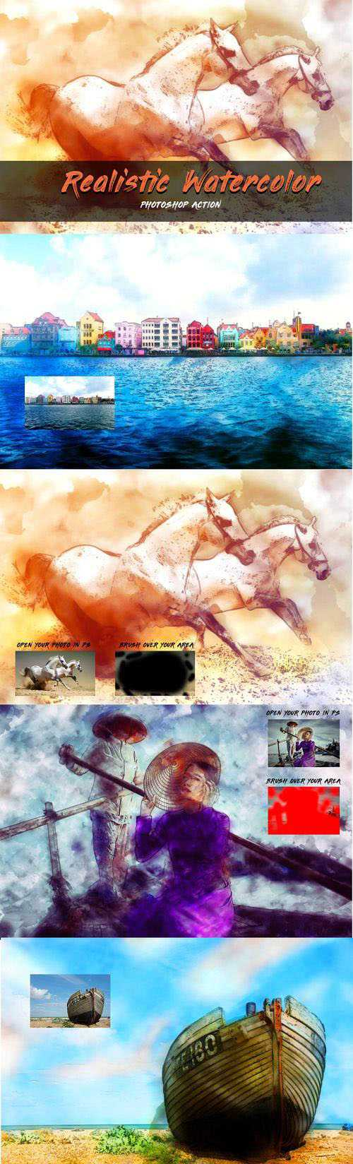 Realistic Watercolor Photoshop Action – 3530665