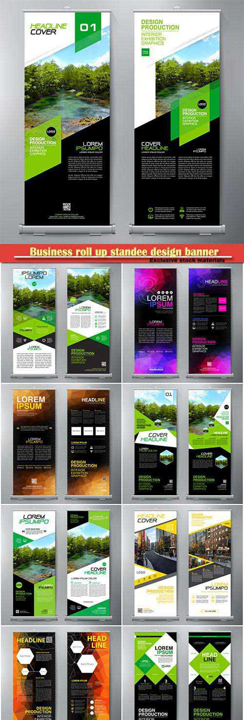 Business roll up standee design banner template, presentation and vector brochure flyer
