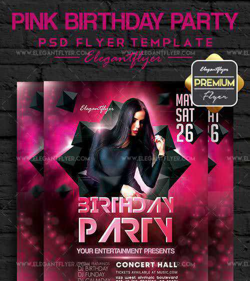 Pink Birthday Party V1 2018 Flyer PSD Template