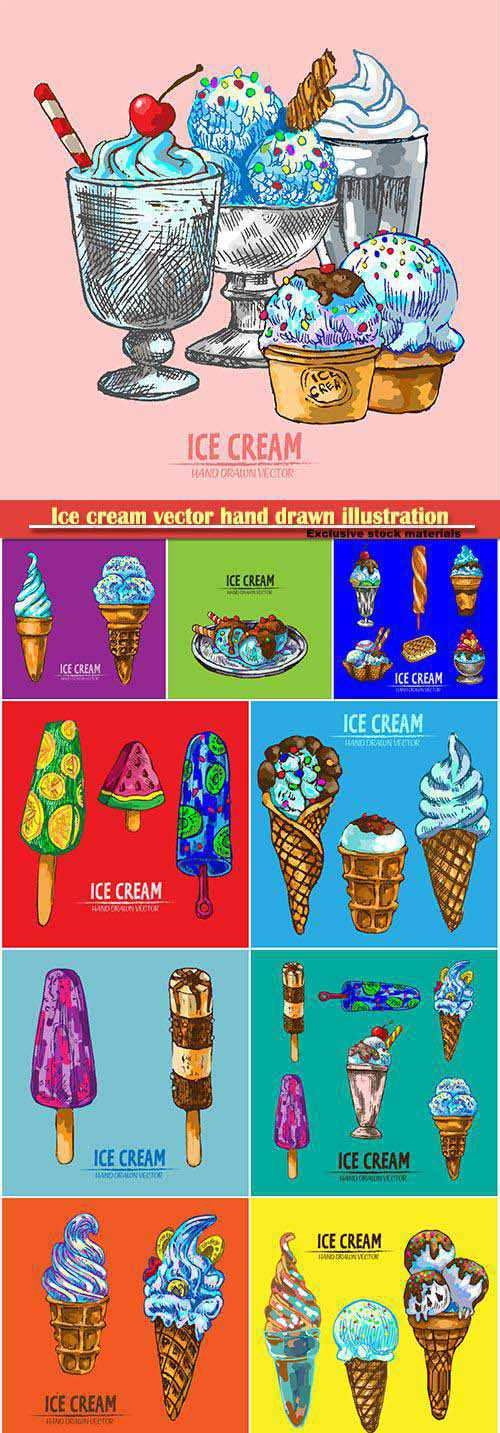 Ice cream vector hand drawn retro illustration collection set