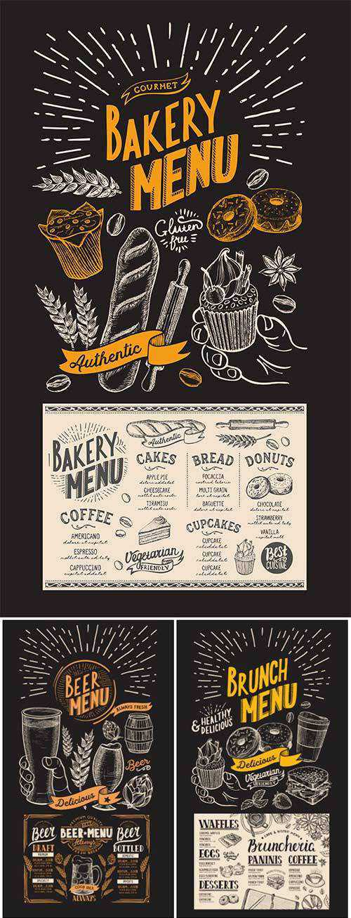 Vector food restaurant menu, design template with vintage hand-drawn flyer for bar and cafe