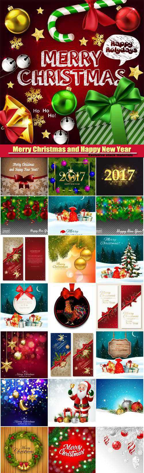 Merry Christmas and Happy New Year vector, greeting cards, leaflets and brochures