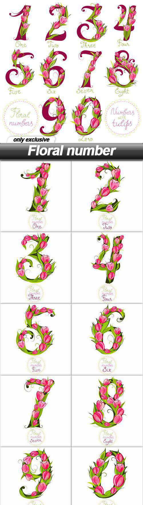 Floral number Vector