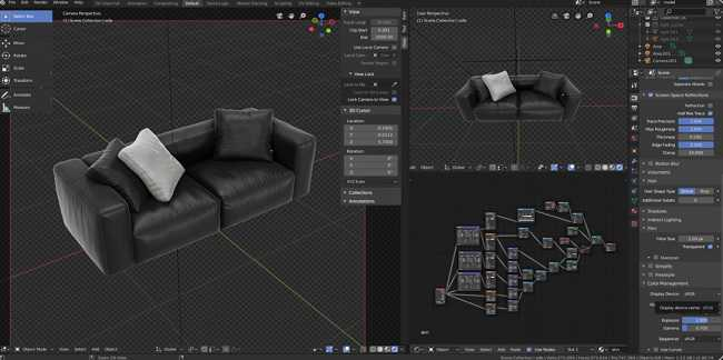 Blender3dk – Modeling a leather couch in Blender + Scene 2.8 Eevee