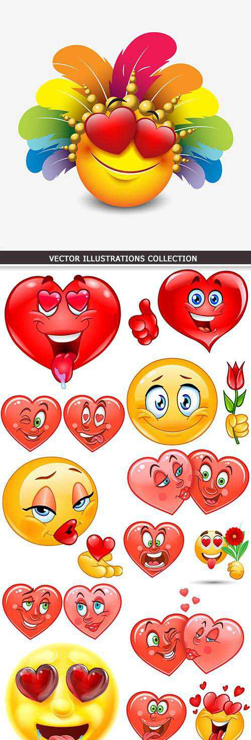 Red heart romantic St. Valentine's Day design collection