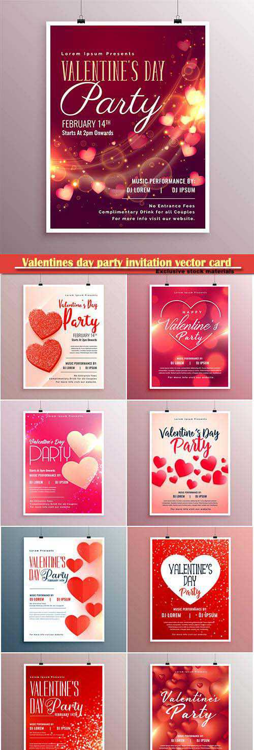 Valentines day party invitation vector card # 7