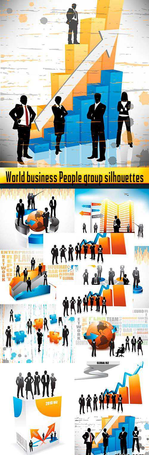 World business People group silhouettes