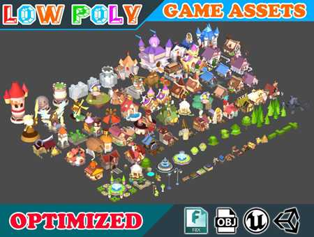 Cgtrader Low poly Cartoon Kingdom KIT Game Assets Low-poly 3D model