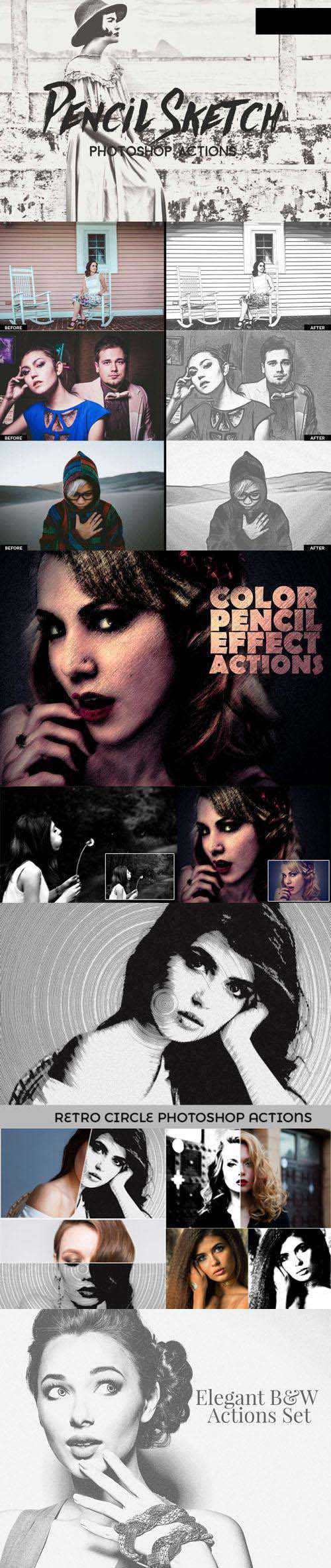 B/W & Pencil Sketch Photoshop Actions Collection