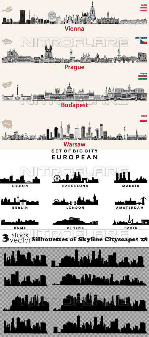 Silhouettes of Skyline Cityscapes 28