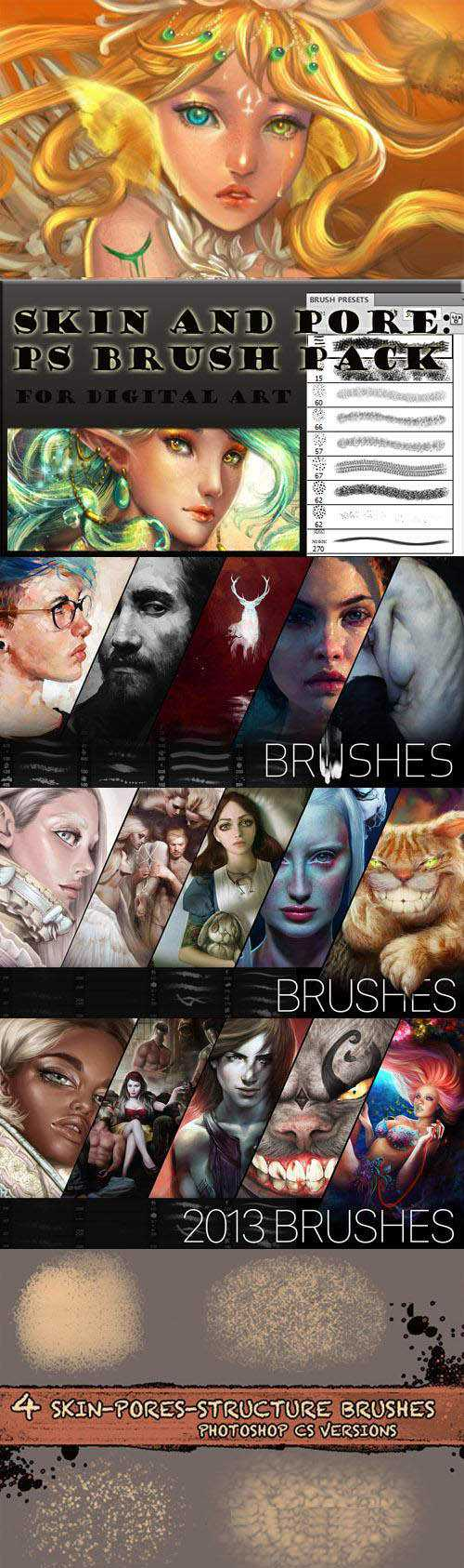 Skin Texture & Pore Brushes for Photoshop