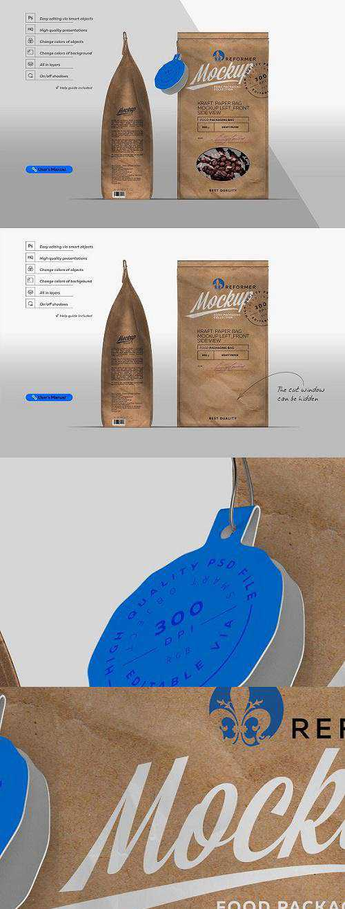 Kraft Paper Bag Mockup Left & Front – 2259719