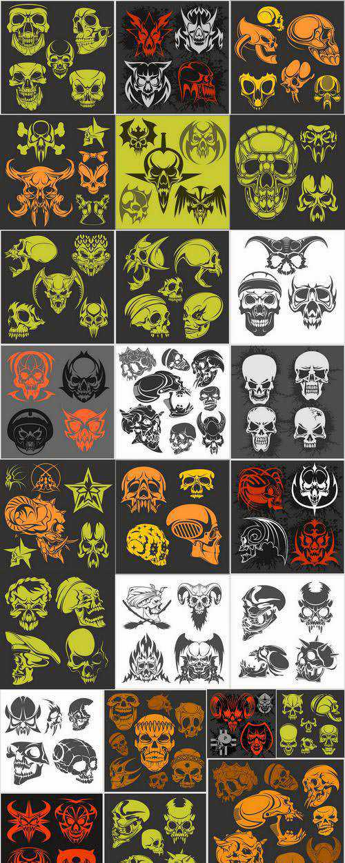 Skull head pattern for clothes t-shirt 25 EPS